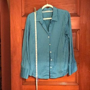 Turquoise and white pinstripe button down shirt